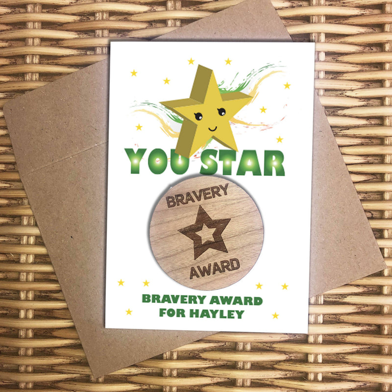 Award - Personalised Wooden Bravery Merit Award - Green Star