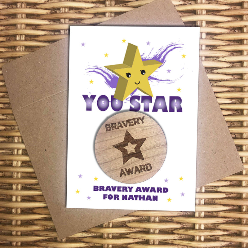 Award - Personalised Wooden Bravery Merit Award - Purple Star