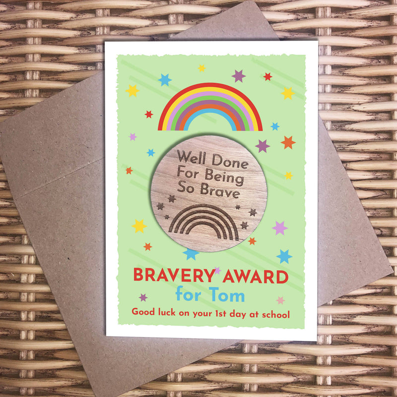 Award - Personalised Wooden Bravery Merit Award - Rainbow