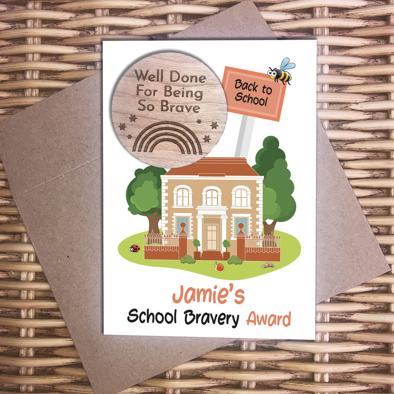 Award - Personalised Wooden Bravery Merit Award - School