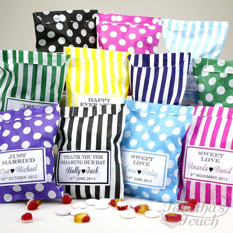 Candy Bag - Personalised Favour Candy/Sweet Bag - Polka Dot And Stripes
