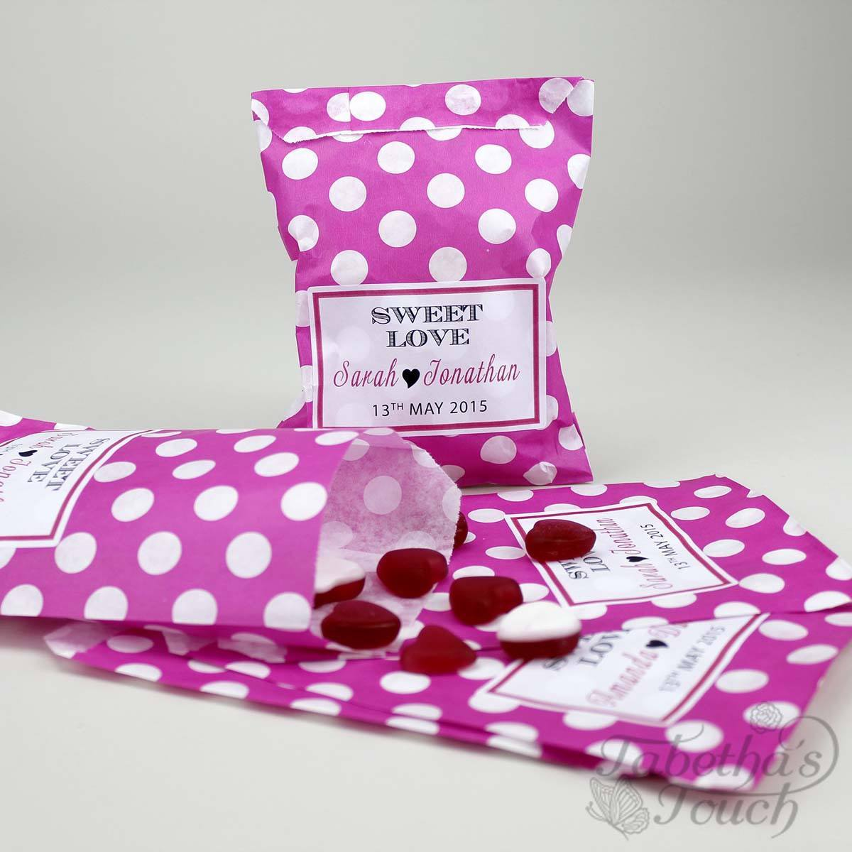Personalised Favour Candy/Sweet Bag - Polka Dot, Stripe – Tabetha\'s ...