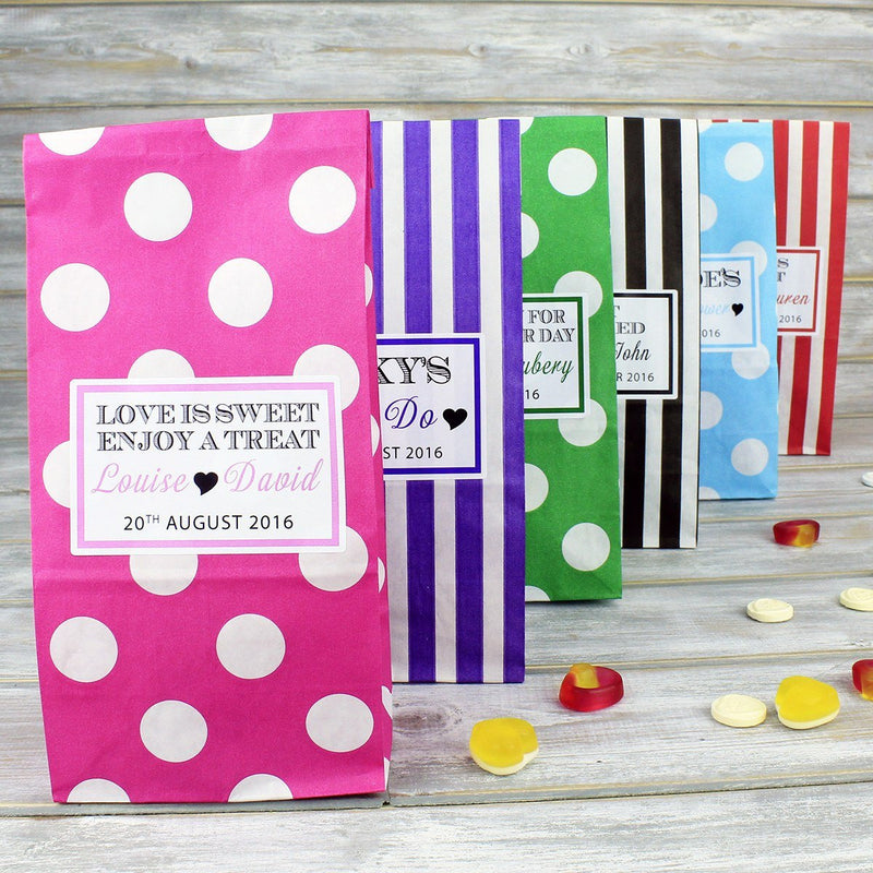 Candy Bag - Personalised Wedding Favour Pick And Mix Candy/Sweet Bag - Polka Dot And Stripes