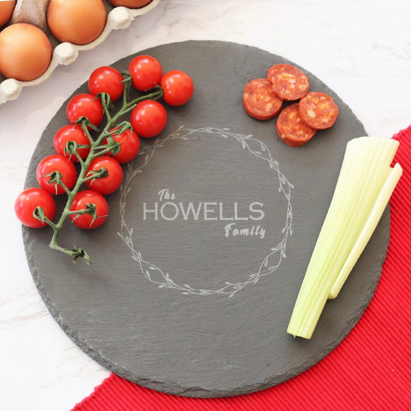 Cheese Board - Personalised Chopping Or Cheese Board - Wreath