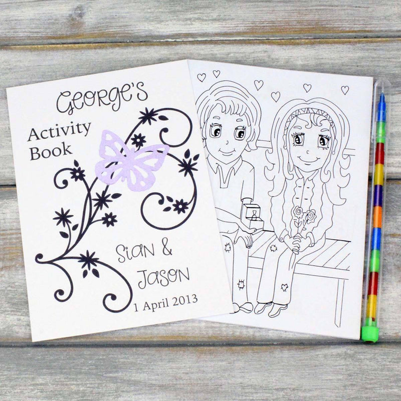 Childrens Activity Book - Personalised Childrens Wedding Activity Favour Gift Book - Butterfly Design