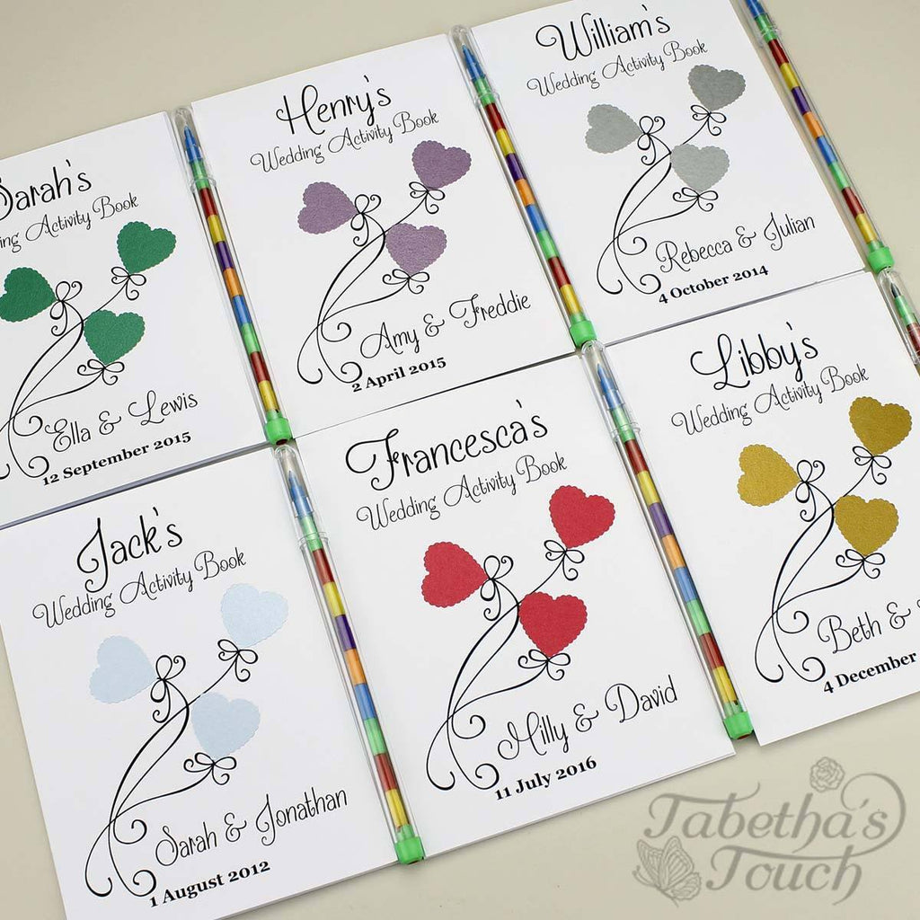 Childrens Activity Book - Personalised Childrens Wedding Activity Favour Gift Book - Three Heart Design