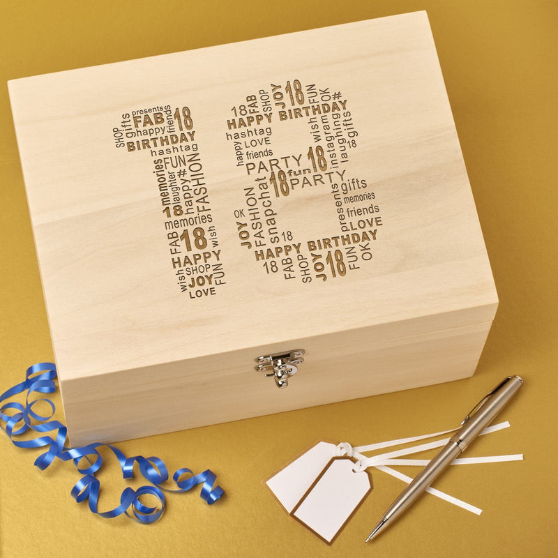 Christening Box - Laser Engraved Wooden Memory Keepsake Box With Hinged Lid - 18 Design