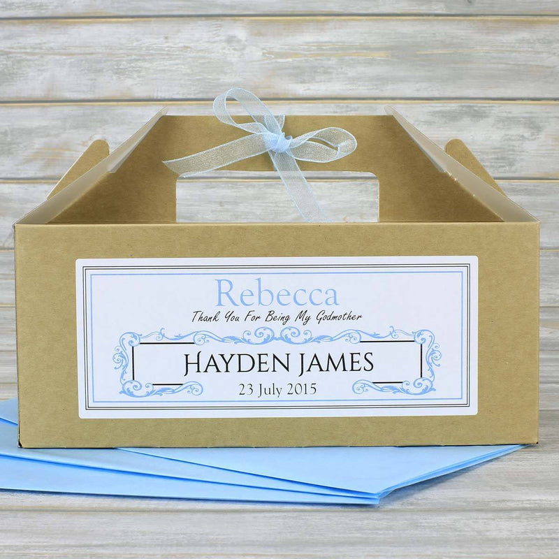 Christening Box - Personalised Christening Gift Box With Matching Tissue Paper