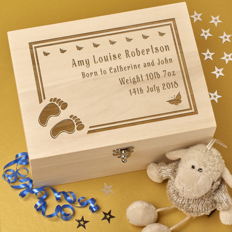 Christening Box - Personalised Laser Engraved Wooden Baby Memory Keepsake Box With Hinged Lid -Feet & Butterflies Design