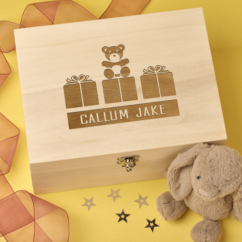 Christening Box - Personalised Laser Engraved Wooden Baby Memory Keepsake Box With Hinged Lid - Teddy Design