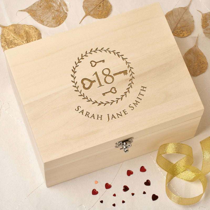 Christening Box - Personalised Laser Engraved Wooden Memory Keepsake Box With Hinged Lid - 18 Key Design