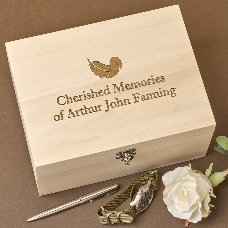 Christening Box - Personalised Laser Engraved Wooden Memory Keepsake Box With Hinged Lid - Feather Design