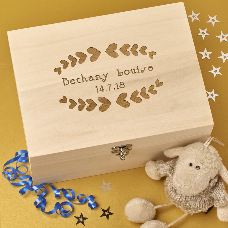 Christening Box - Personalised Laser Engraved Wooden Memory Keepsake Box With Hinged Lid - Hearts Design