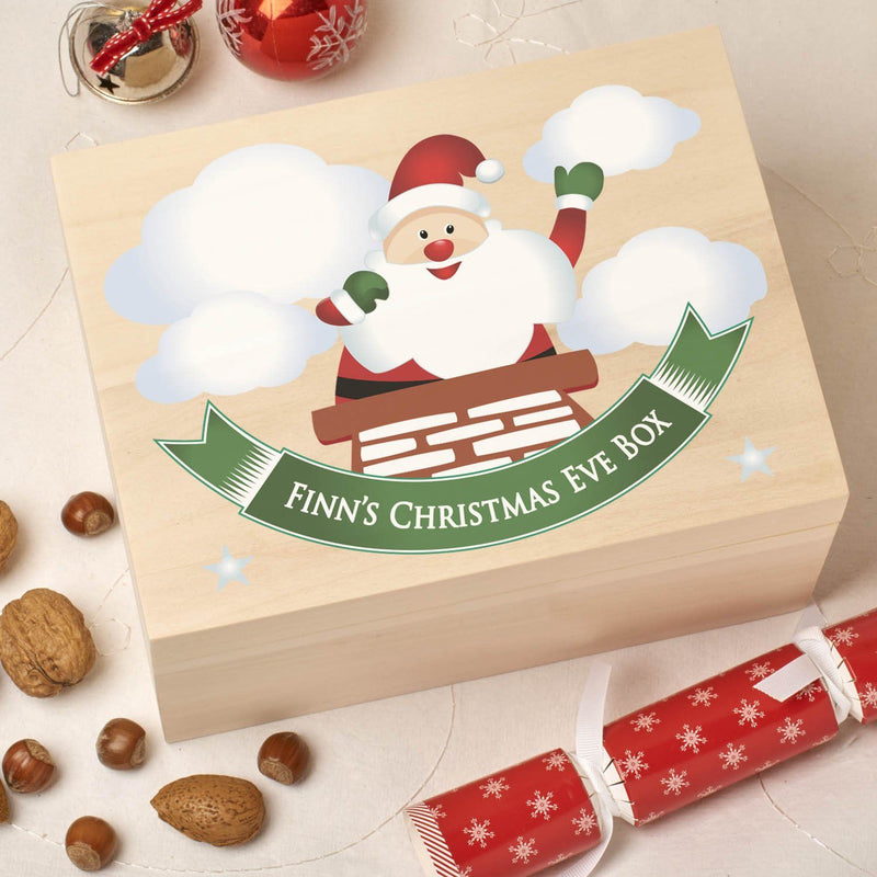 Christmas Box - Colour - Personalised Wooden Colour Christmas Eve Box - Chimney