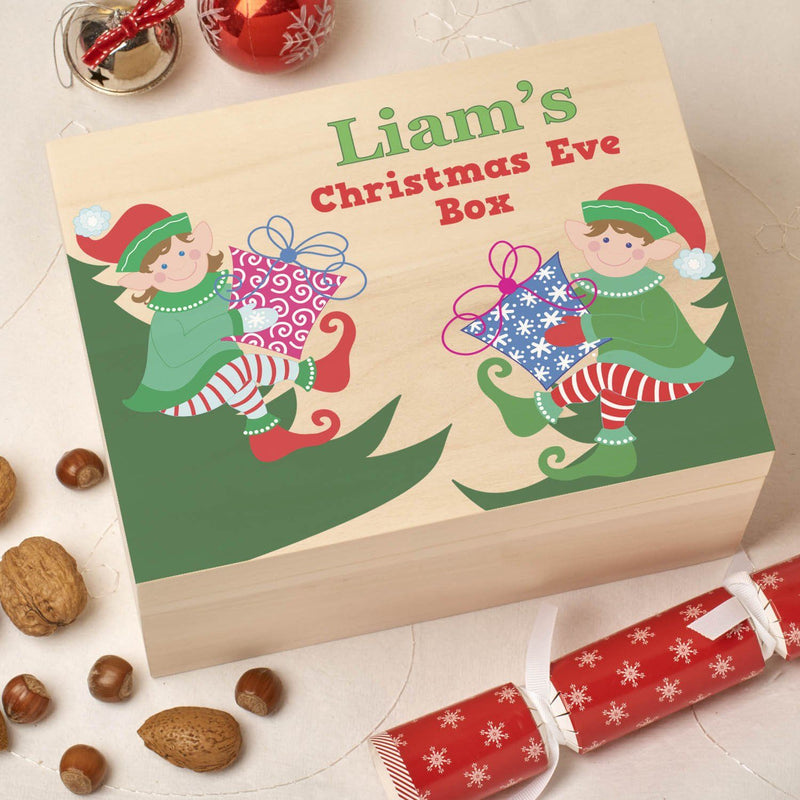 Christmas Box - Colour - Personalised Wooden Colour Christmas Eve Box - Elf