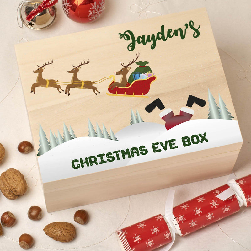 Christmas Box - Colour - Personalised Wooden Colour Christmas Eve Box -Fallen Santa