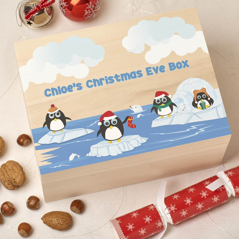Christmas Box - Colour - Personalised Wooden Colour Christmas Eve Box - Iceberg Penguin
