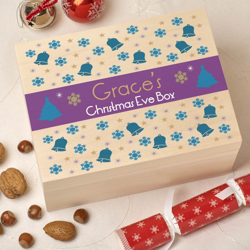 Christmas Box - Colour - Personalised Wooden Colour Christmas Eve Box - Purple Pattern