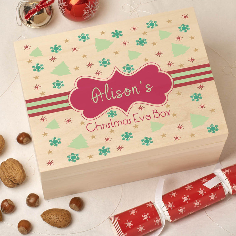 Christmas Box - Colour - Personalised Wooden Colour Christmas Eve Box - Red Pattern