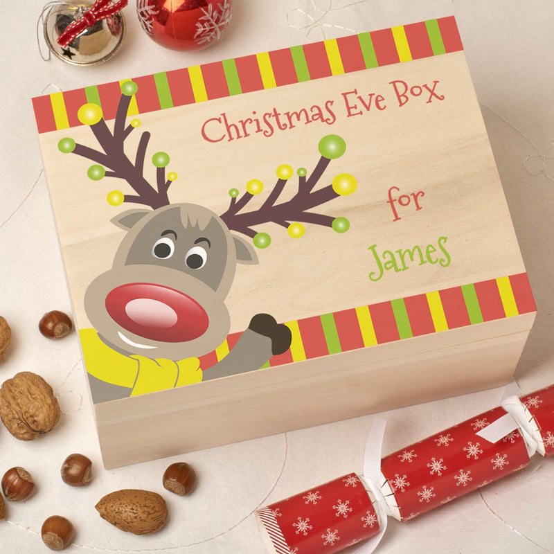 Christmas Box - Colour - Personalised Wooden Colour Christmas Eve Box - Reindeer