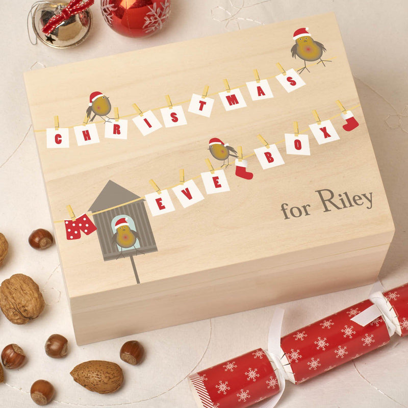 Christmas Box - Colour - Personalised Wooden Colour Christmas Eve Box - Robin