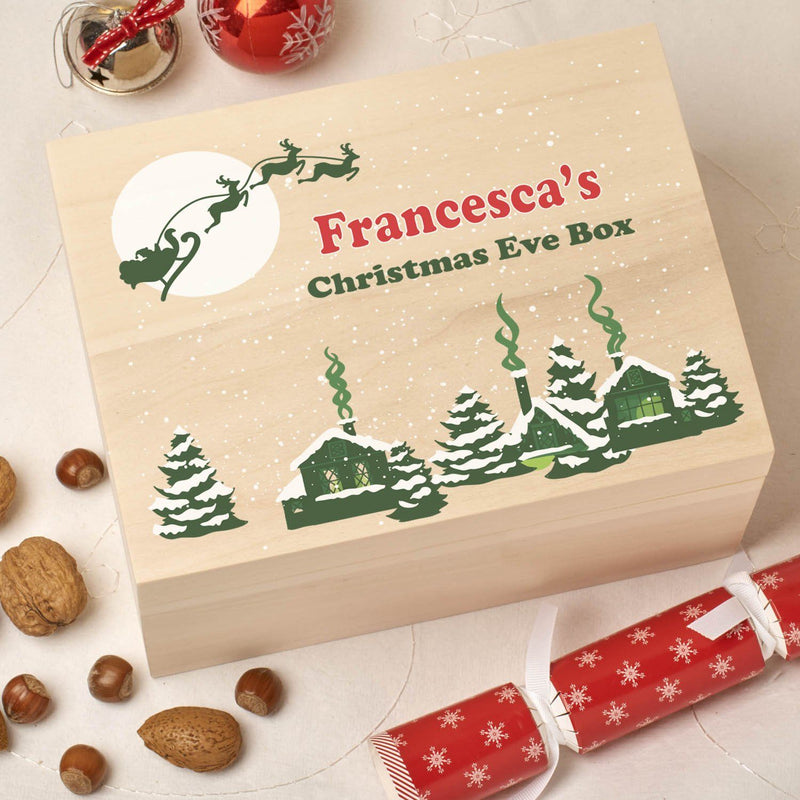 Christmas Box - Colour - Personalised Wooden Colour Christmas Eve Box - Santa Village