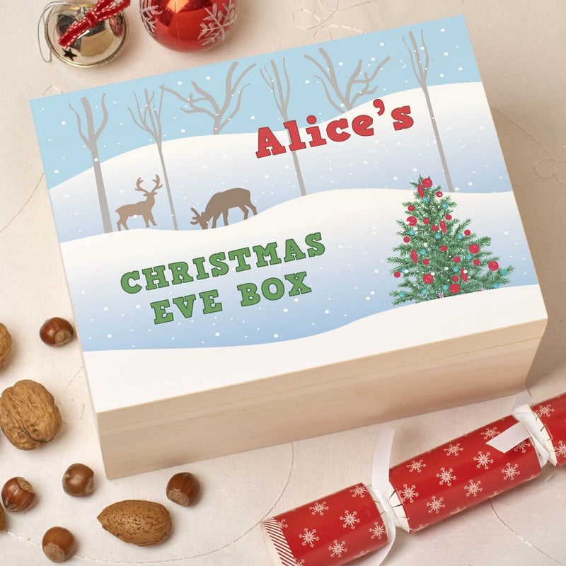 Christmas Box - Colour - Personalised Wooden Colour Christmas Eve Box - Snow Scene