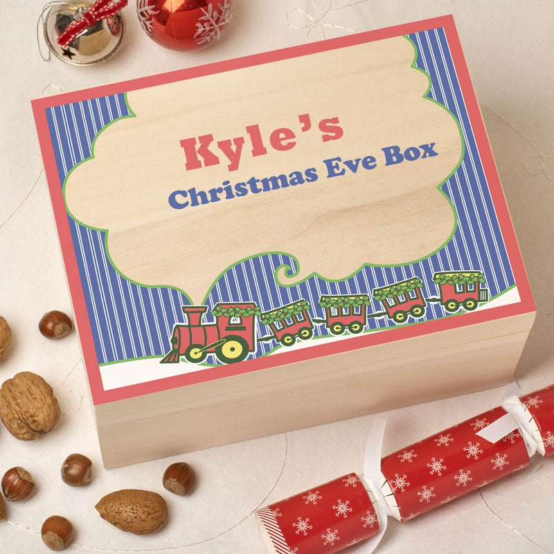 Christmas Box - Colour - Personalised Wooden Colour Christmas Eve Box - Train