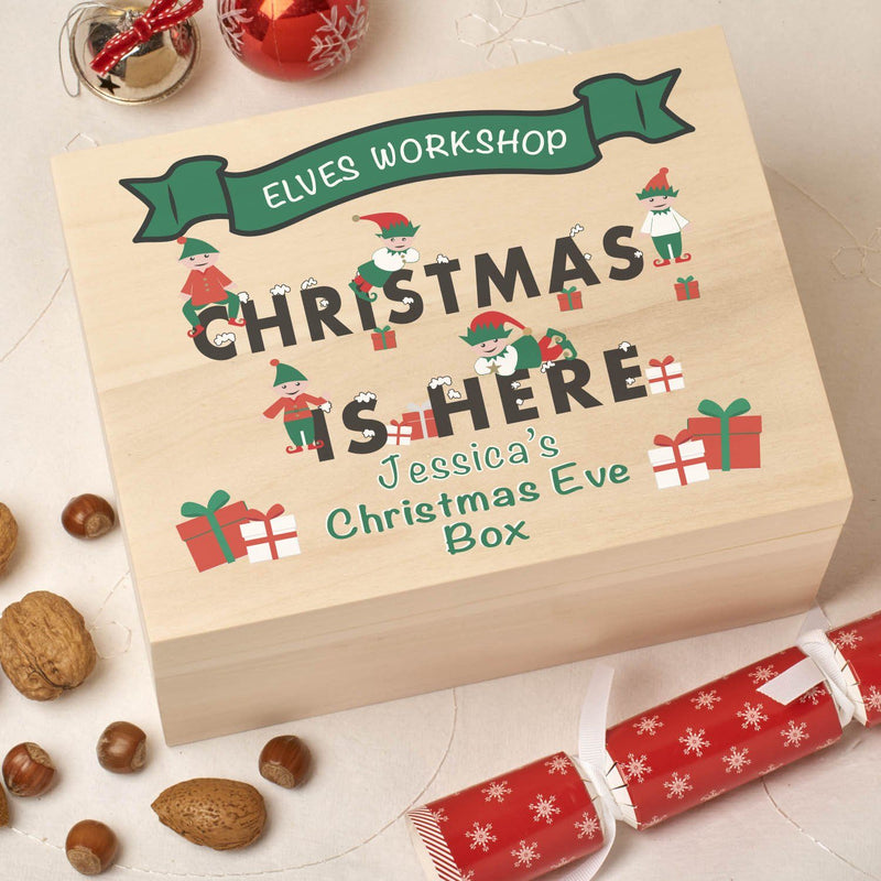 Christmas Box - Colour - Personalised Wooden Colour Christmas Eve Box - Workshop