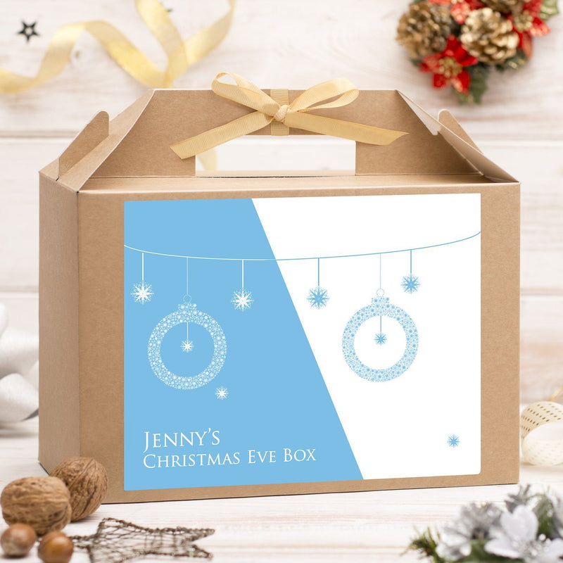 Christmas Box - Personalised Christmas Eve Box - Blue Baubles Design