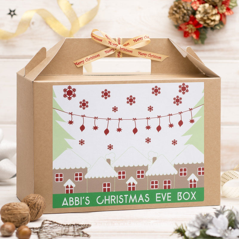 Christmas Box - Personalised Christmas Eve Box - Houses And Trees Design