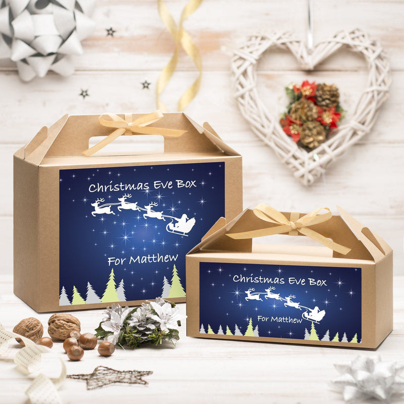Christmas Box - Personalised Christmas Eve Box - Reindeer At Night Design