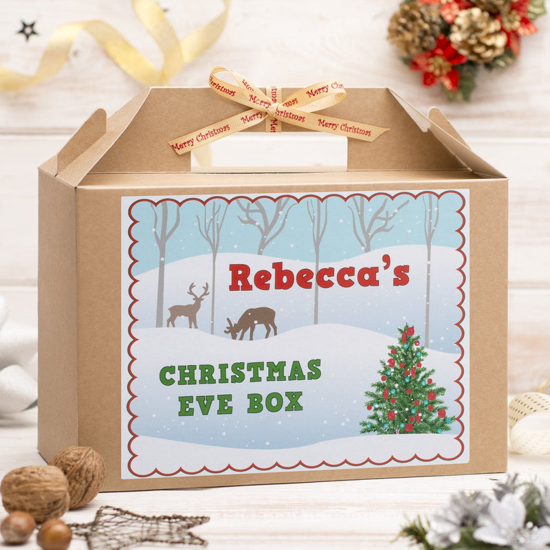 Christmas Box - Personalised Christmas Eve Box - Snow Scene Design