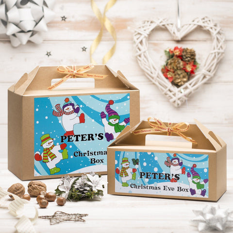 Christmas Box - Personalised Christmas Eve Box - Snowmen And Snowballs Design