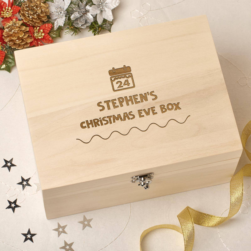 Christmas Box - Personalised Wooden Christmas Eve Box - Calendar Design