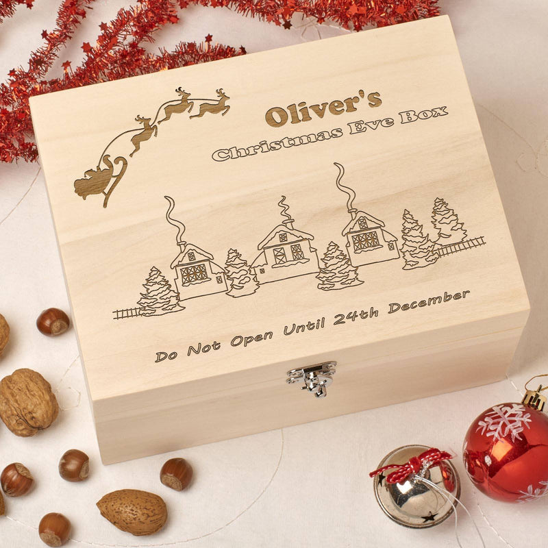 Christmas Box - Personalised Wooden Christmas Eve Box - Santa Village Design