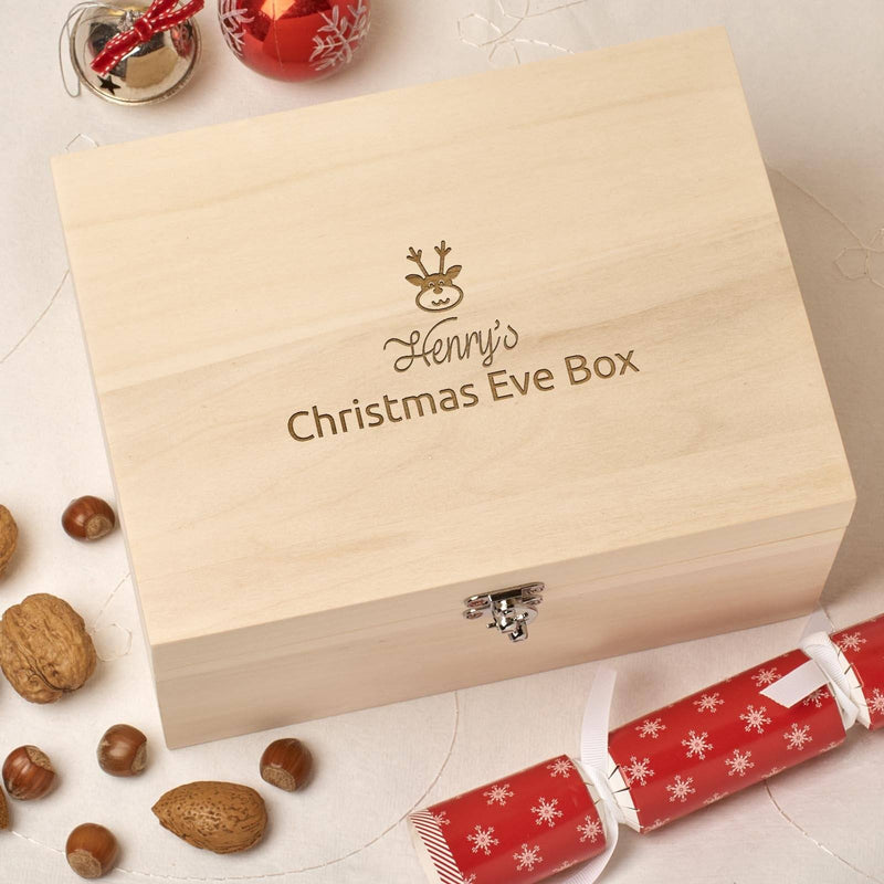 Christmas Box - Personalised Wooden Christmas Eve Box - Simple Reindeer Design