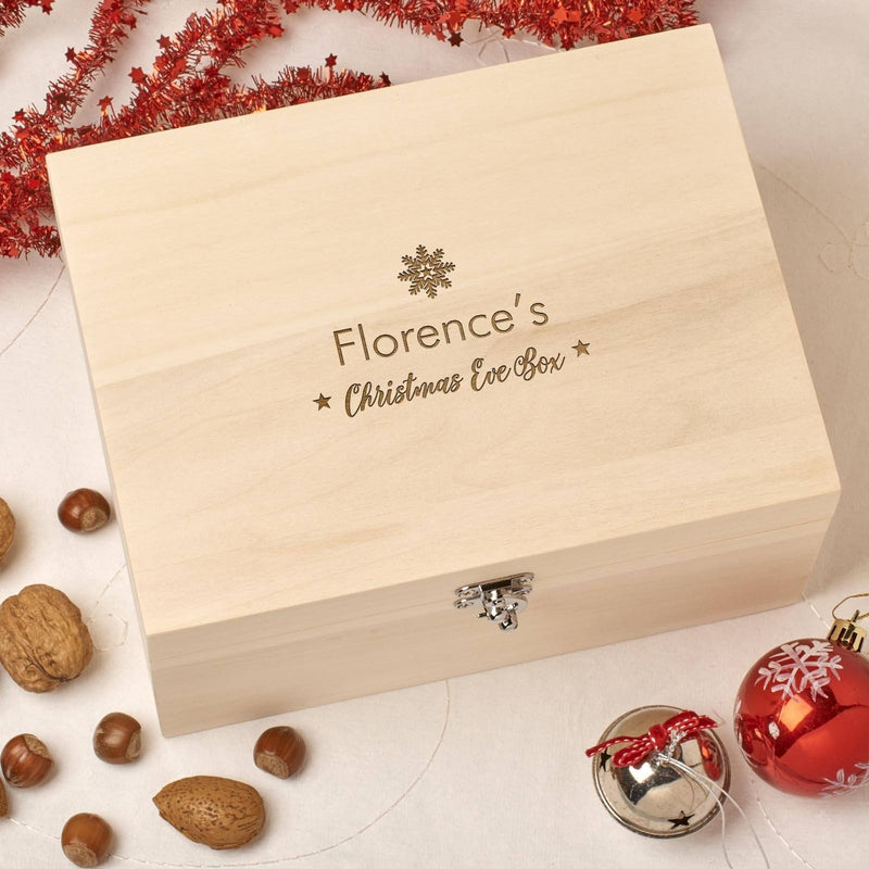 Christmas Box - Personalised Wooden Christmas Eve Box - Small Snowflake Design
