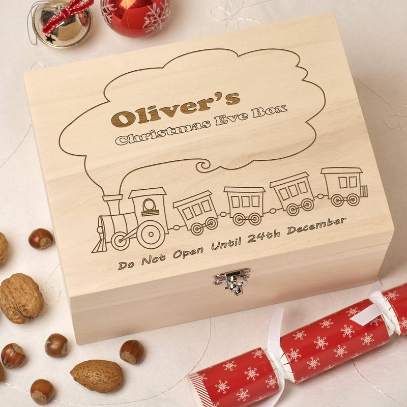Christmas Box - Personalised Wooden Christmas Eve Box - Train Design