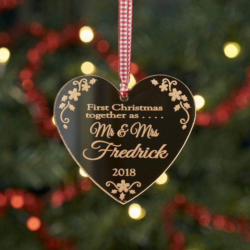 Christmas Decoration - Personalised First Christmas As Mr & Mrs Decoration