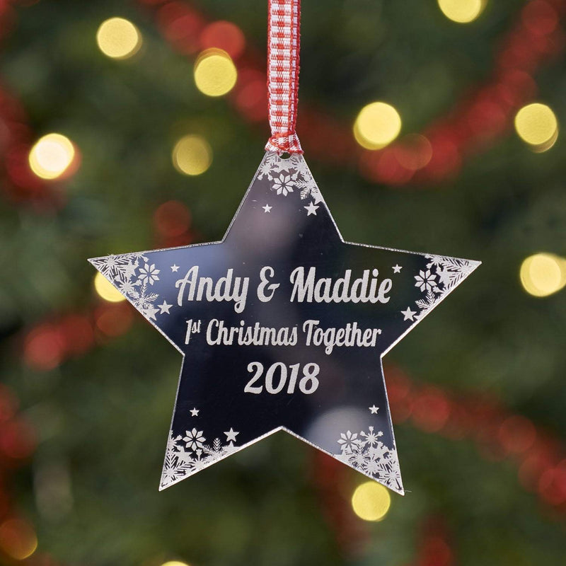 Christmas Decoration - Personalised Star First Christmas Tree Decoration