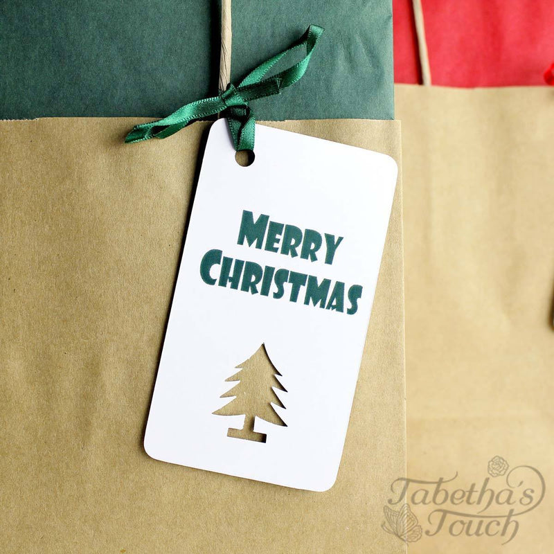 Christmas Gift Bag - Brown Kraft Christmas Gift Bags With Tissue Paper And 5 Label Designs