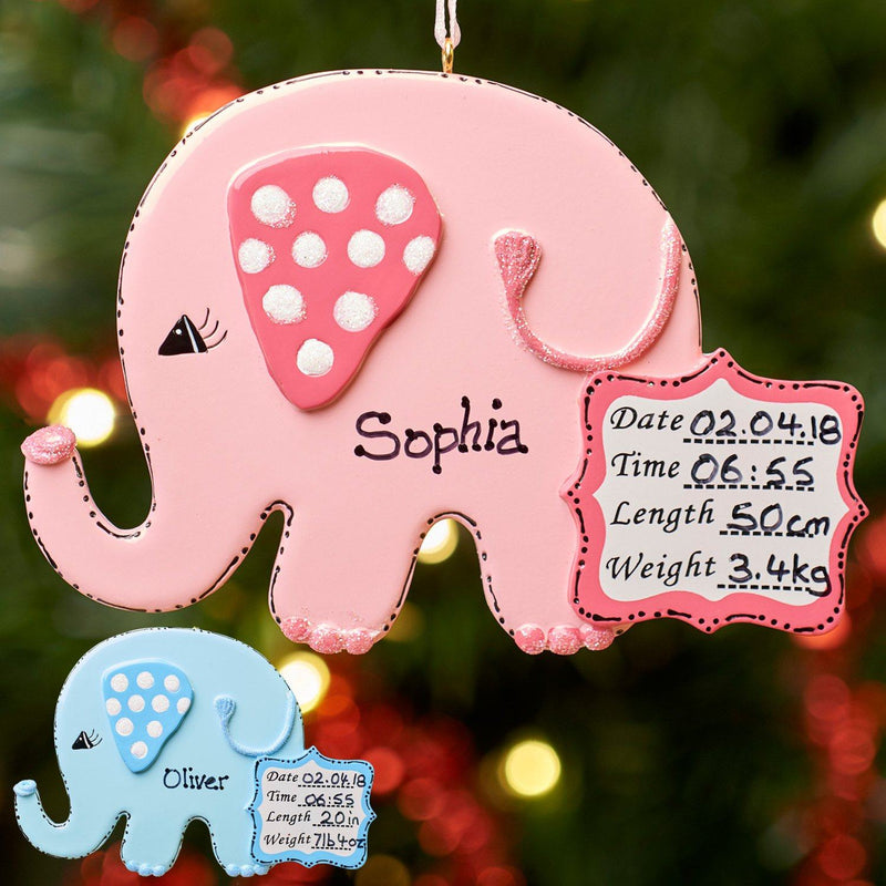 Christmas Ornament - Personalised Baby's 1st Christmas Xmas Tree Decoration Ornament - Baby Elephants