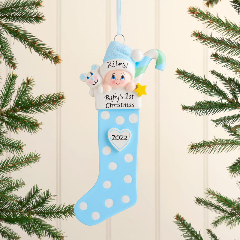 Christmas Ornament - Personalised Baby's 1st Christmas Xmas Tree Decoration Ornament - Baby Long Stockings