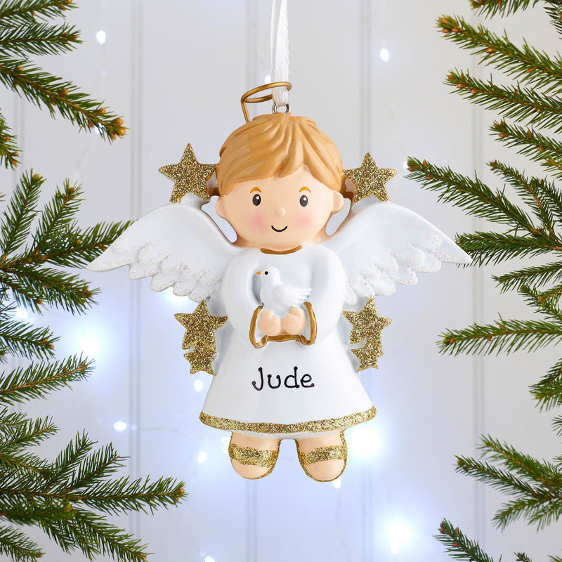 Christmas Ornament - Personalised Childs Christmas Xmas Tree Decoration Ornament - Angel Boy Or Girl