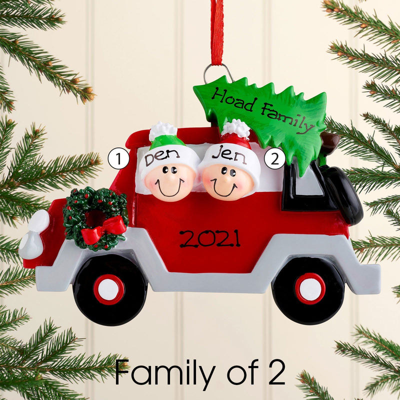 Christmas Ornament - Personalised Family Christmas Xmas Tree Decoration Ornament - Car Family