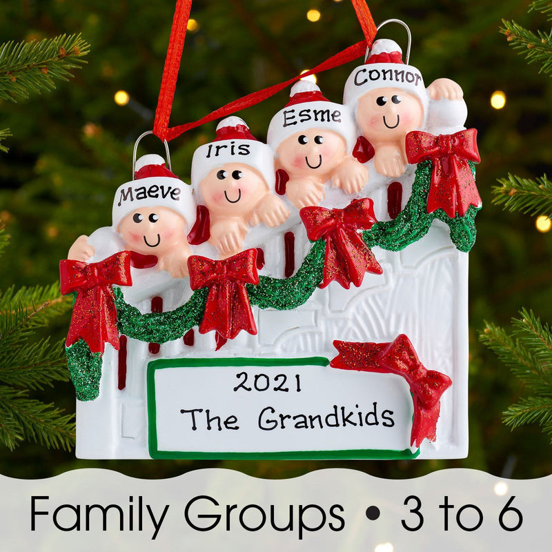 Christmas Ornament - Personalised Family Christmas Xmas Tree Decoration Ornament - Christmas Staircase Family