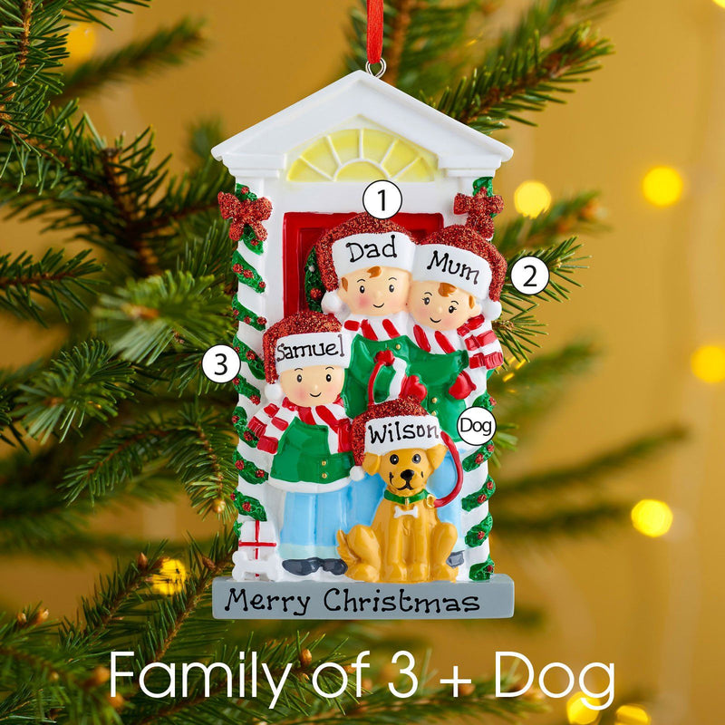 Christmas Ornament - Personalised Family Christmas Xmas Tree Decoration Ornament - Family With Dog