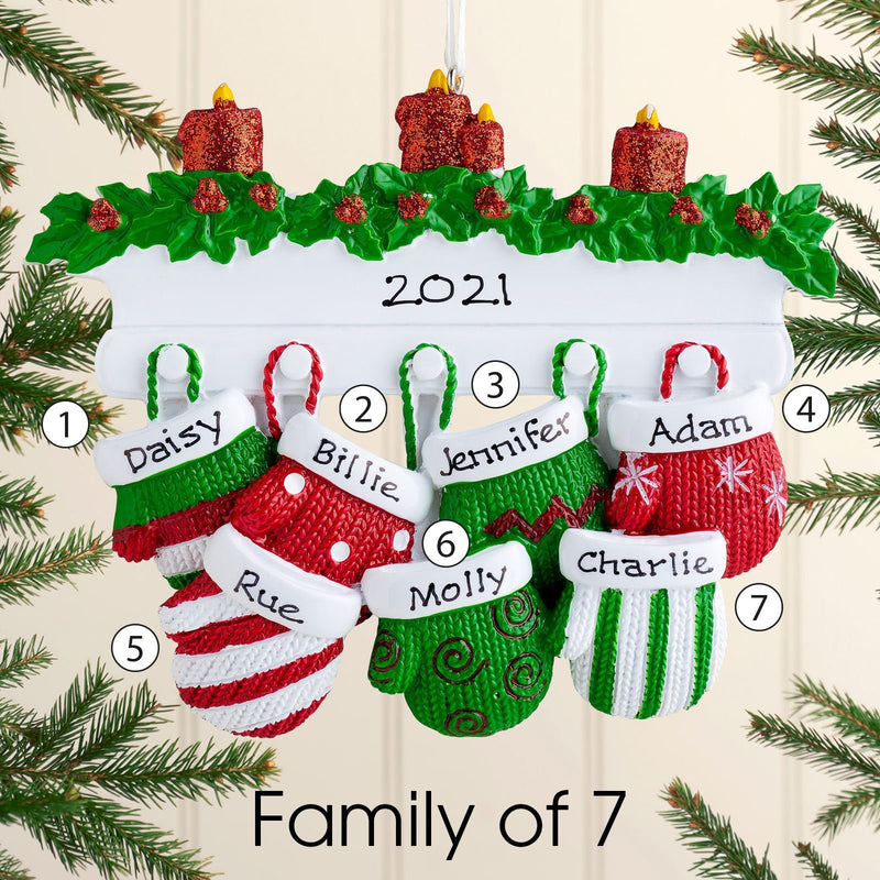 Christmas Ornament - Personalised Family Christmas Xmas Tree Decoration Ornament - Mittens Family