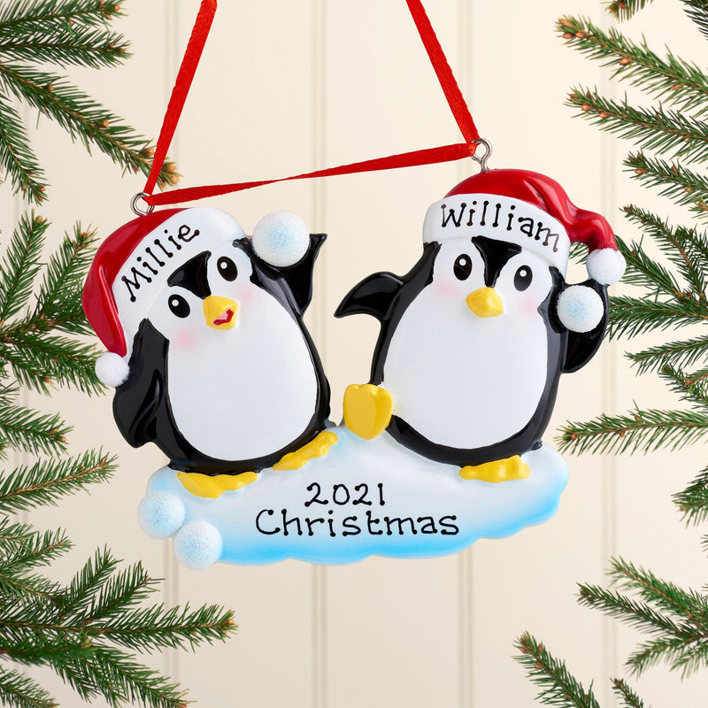 Christmas Ornament - Personalised Family Christmas Xmas Tree Decoration Ornament - Penguin Snowball Couple